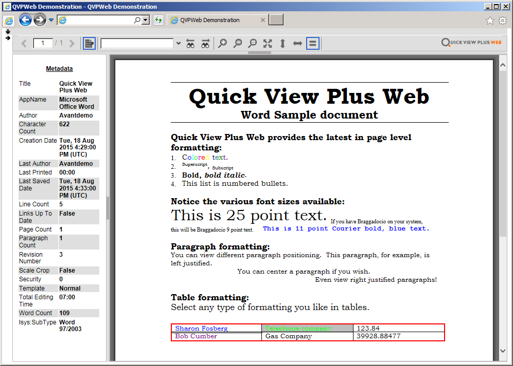 Screenshot: Metadata View